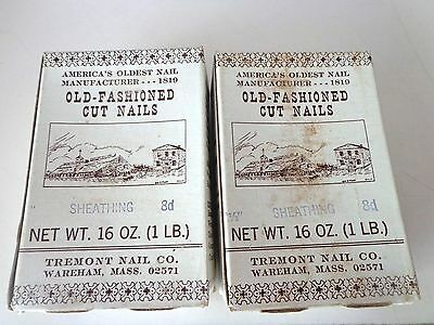 """2 boxes 1lb ea Tremont Nail Co. Old-Fashioned Cut Nails 8d Sheathing 2 1/2"""""""