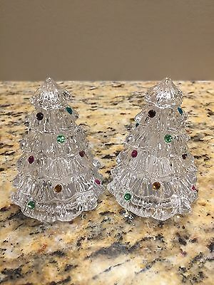 Lenox Lead Crystal Christmas Tree Salt And Pepper Shakers Set *PRETTY*