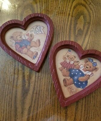 *New 2 HOMCO Home Interiors Bears Red Heart Shaped Pictures Barbara Mock*