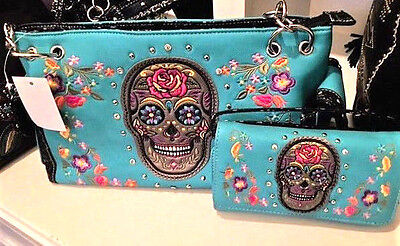 Womens Skull Turquoise Multi Handbag & Wallet Set Sugar Skull Nwt