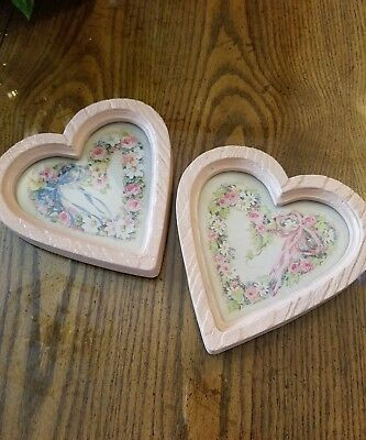 New 2 HOMCO Home Interiors Floral Ribbon Pink Heart Shaped Pictures Barbara Mock