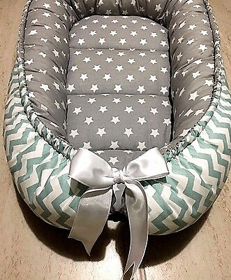 Gray Baby Nest Mint and Gray Babynest Newborn Sleep Snuggle Cocoon Crib Bed New