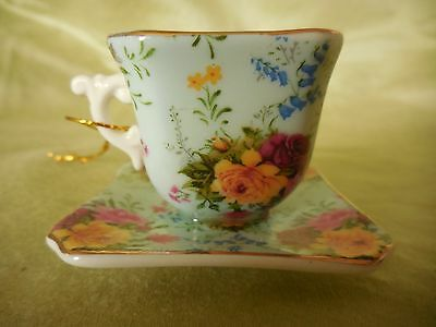 New Miniature Cup and Saucer, Teacup Christmas Ornament