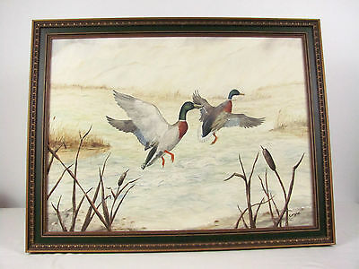 """Original Signed Canvas Painting Ducks Flying Over Marsh by Chuck Coyne 26"""" x 20"""""""