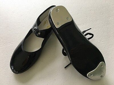 Tempo by Leo's, Girls Tap Dance Shoes, Black Patent Size 1W