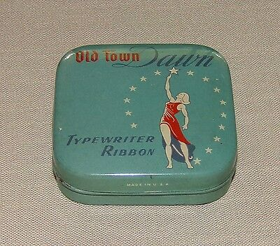 Vtg Old Town Dawn Typewriter Ribbon Tin