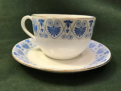 Vintage Royal Coleston England blue and white cup & saucer, gold trim