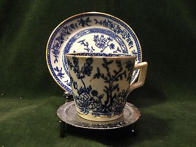 Antique Porcelain ORCHID Demitasse Cup & Saucer-Blue on White with Gold