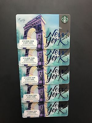 5 STARBUCKS 2017 NYC New York City Collectible Gift Card  HTF Free Shipping LOT