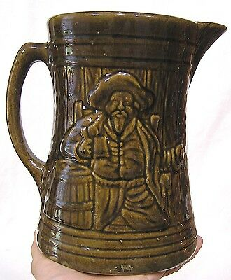 Vintage McCoy Art Pottery Buccaneer Tankard Pitcher Brown 1920s