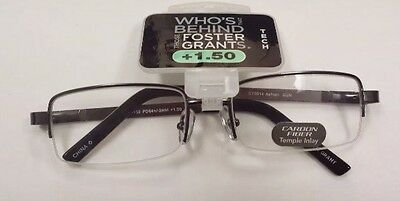 da94240d7714 Foster Grant Tech +1.50 Reading Glasses Gunmetal Frame ASHTON GUN METAL  CARBON
