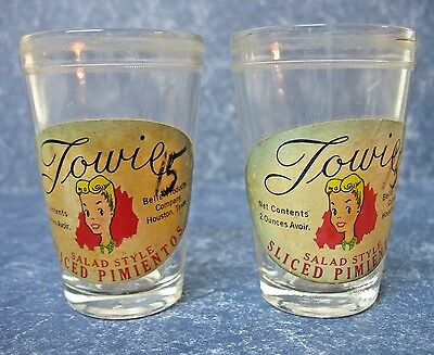 Two Vintage Towie Pimento Containers W/label