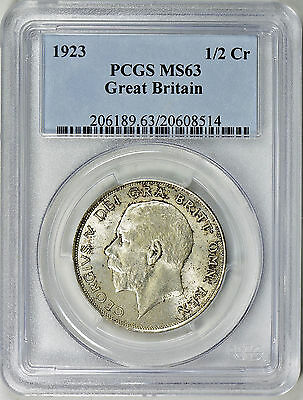 1923 Great Britain Silver Half Crown - Pcgs Ms63 - Km818.2 (17-0277)