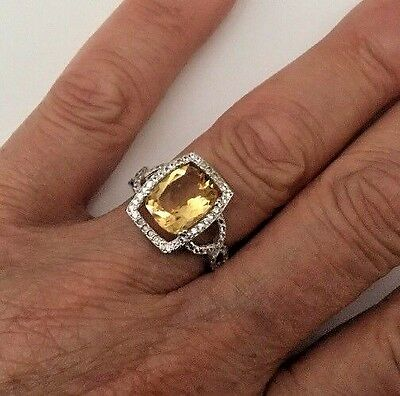 Diamonds Sapphire & 2.50 CTW Citrine Sz 7.5 Ring 14K Wht Gold / Sterling Silver