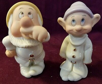 Disney Snow White & the Seven Dwarfs Dopey & Sneezy Salt & Pepper Set-LENOX NIB