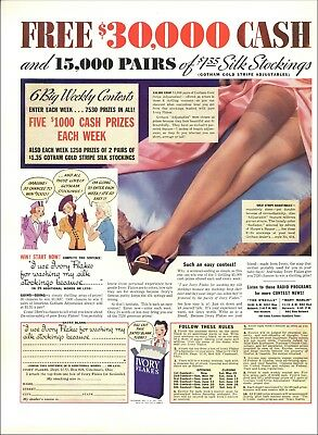 1937 Ivory Flakes Contest Silk Stockings Are Safe By Washing….. Ad