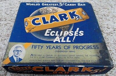 Vintage Clark Bar 5 Cent Size Advertising Box 50 Years of Progress