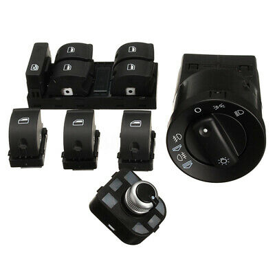 6Pcs Headlight Window Mirror Panel Switch Control Set For Audi A4 Sedan B6 B7