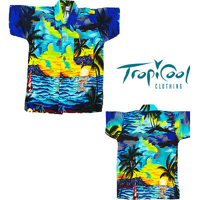 Sunset Blue Boys Toddler Hawaiian Shirts Rayon Fancy Dress