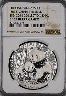 2015 1oz Silver Panda NGC PF69 3rd China Coin Collection Expo / Looks Flawless