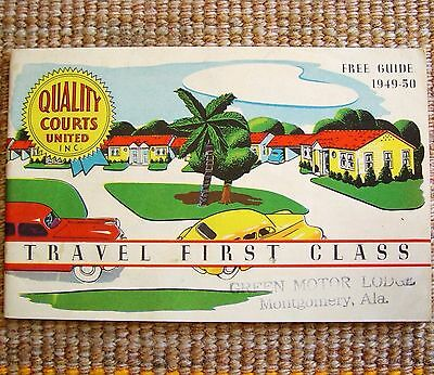 1949 Col Sanders Quality Courts Motel Booklet MINTY Asheville NC Montgomery AL