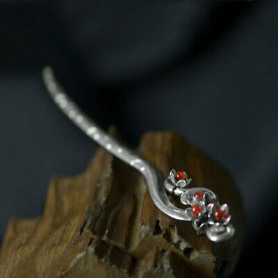 Women Chinese Retro handmade Miao Silver Agate Carved Hair sticks Hairpin