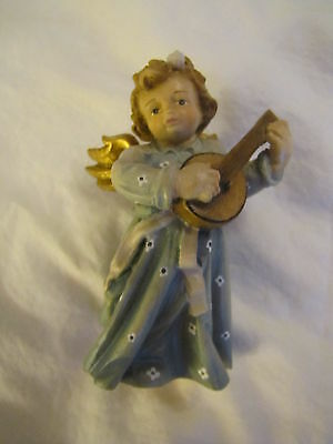 """Beautifully Hand Painted Wood Carved Angel ~ 3 1/2"""" Tall - Dolfi with Guitar"""