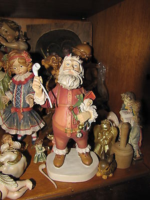 """Dolfi Wood Carved and Artfully Painted Nast History of Santa from 1983 ~ 8"""" tall"""