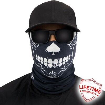 MOTORCYCLE FACE MASK - SUGAR SKULL SPADES - (Moto, Hunting, Fishing, Paintball)