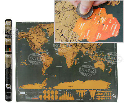 Deluxe Travel Edition Scratch Off World Map Personalized World Map Poster AU