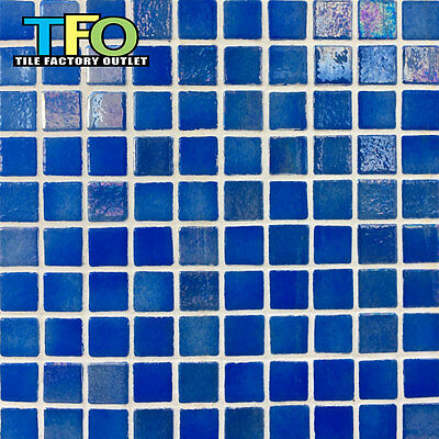 Only $39/m2! Pearl Blue Silicone Joined Spanish Pool Mosaic Tile 25x25mm (#7101)