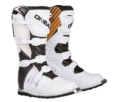 Oneal Rider White Motocross Boots Adults Mens Dirt Bike MX Offroad Enduro