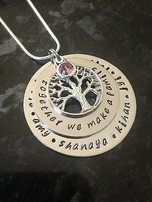 Personalised  Hand Stamped 2 Stack Family Name Tree Of Life Necklace Birthstone.