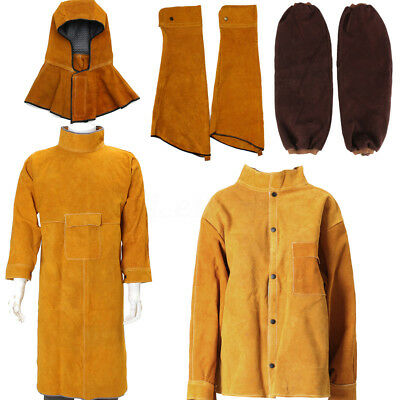 Welding Leather Cowhide Coat Apron Clothing Apparel Welder Sleeves Jacket Safety