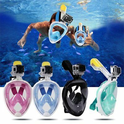 For GoPro 180° Full Face Snorkeling Mask Diving Goggles+Breather Pipe UK STOCK