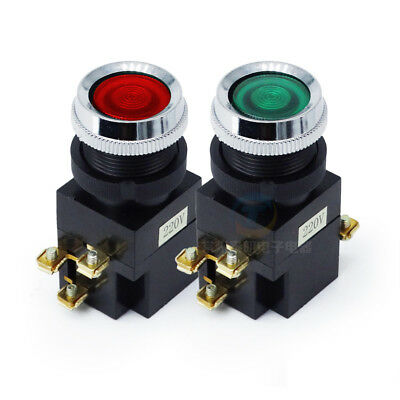 220V Red Green LED Momentary Push Button Illuminated Switch 25MM SPDT 1NO+NC