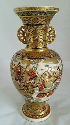 A Japanese Satsuma vase . Hand painted decoration. Meiji Period 1868 -1912