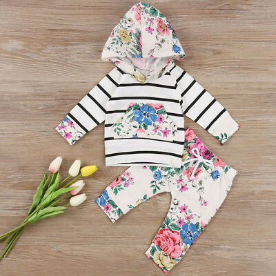 Toddler Kids Girl Hooded Sweatshirt Floral Tops+Pants Baby Outfits Set Tracksuit