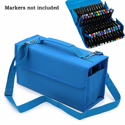 80 Slots Multi Layer Art Marker Pen Carrying Storage Case Holder Portable Bag AU