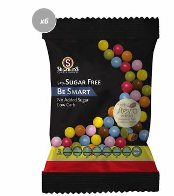 909027 4 x 90g SUGARLESS CONFECTIONARY BE SMART CANDY COATED CHOCOLATE DROPS
