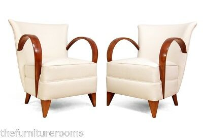 A Pair of Leather of French Art Deco Chairs c1920 (766)