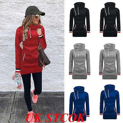 UK Women Hoodies Long Sleeve Jumper Sweater Hooded Pullover Sweatshirt Tops