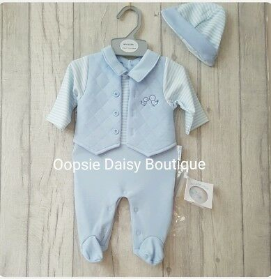 Baby Boys Lovely Romper Suit Oufit With Matching Hat -☆