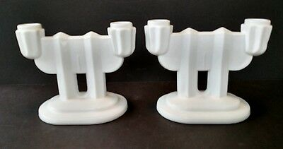 Set of 2 Beautiful Art Deco White Milk Glass Double Candelabra Candle Holders