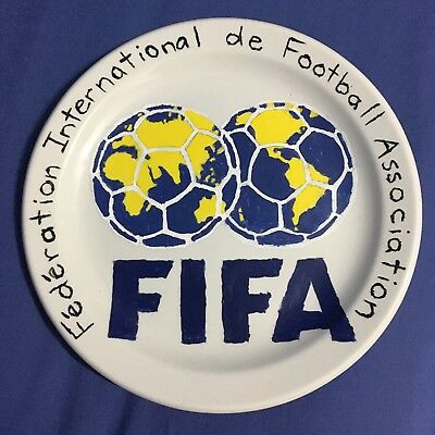 Hand Painted Plate FIFA Logo