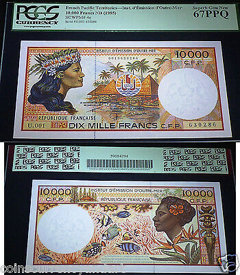 French Pacific Territories 1985 10,000 Francs - PCGS 67 PPQ - Pick # 4e