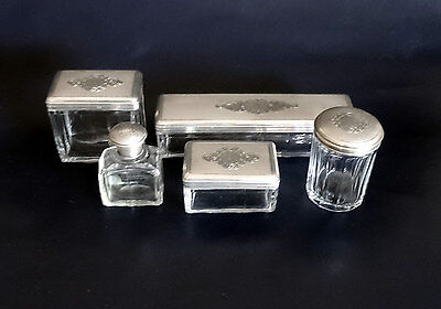 French Antique Napoleon III 5 Piece Sterling Silver & Crystal Vanity/Dresser/Des