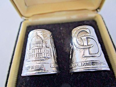 Cased Pair Sterling Silver Thimbles..Charles & Diana..Royal Wedding..1981..