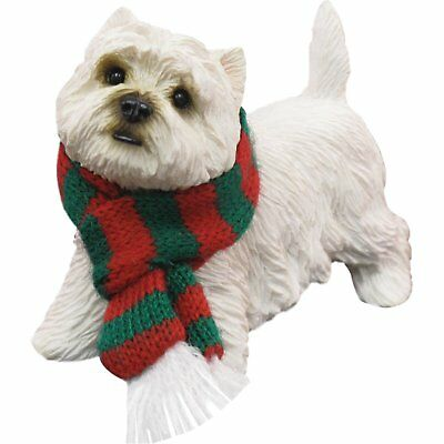 Sandicast West Highland White Terrier with Red and Green Scarf Christmas