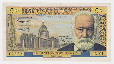 1963 Banque de France  5 Nouveaux Francs Bank Note Circulated Good colour Rare